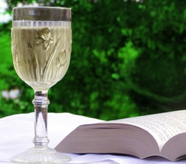 Glass of wine beside a book