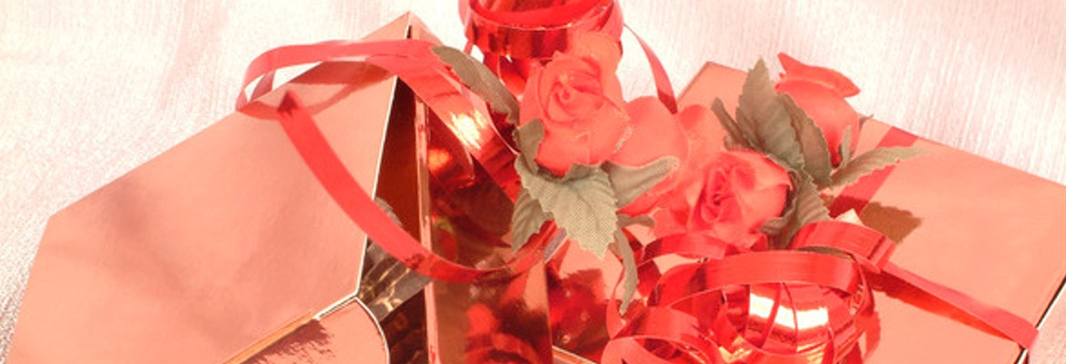 gift boxes with rose and ribbon